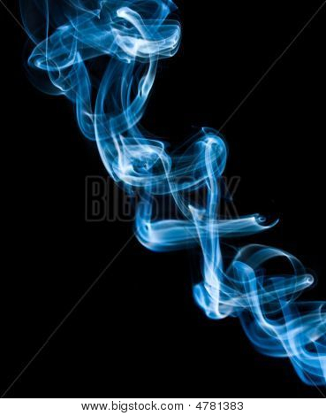 Abstract Blue Thick Smoke On Black