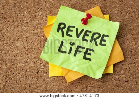 revere life - motivational reminder on a green sticky note