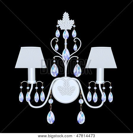 Sconces With Crystal Pendants On Black