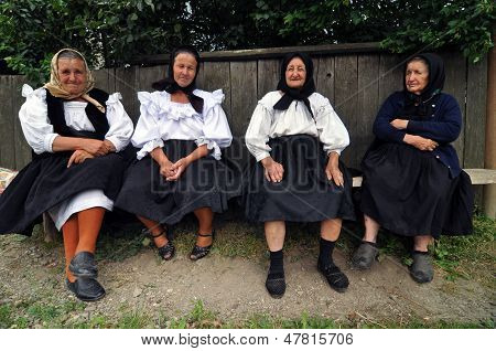 Woman villagers in traditional clothes