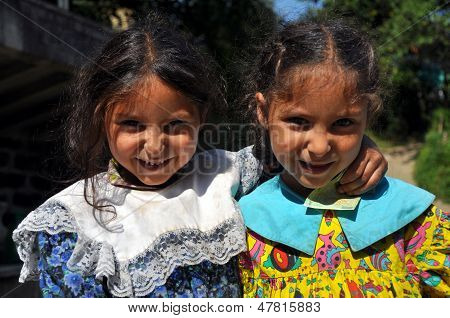 Gypsy Romani girls begging