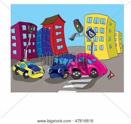 Traffic accident on a city street illustration.