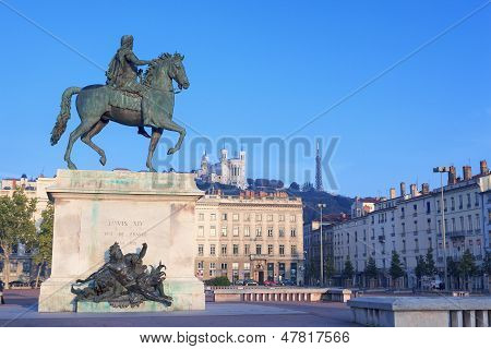 Statue And Notre Dame De Fourviere
