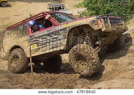 Off-road Car On A Steep Slope