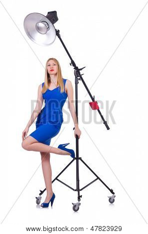 Model in the studio on white