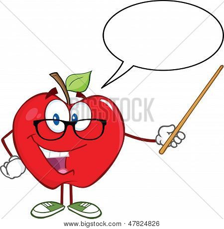 Apple Teacher Character With A Pointer And Speech Bubble
