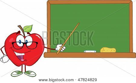Apple Teacher Character With A Pointer In Front Of Chalkboard
