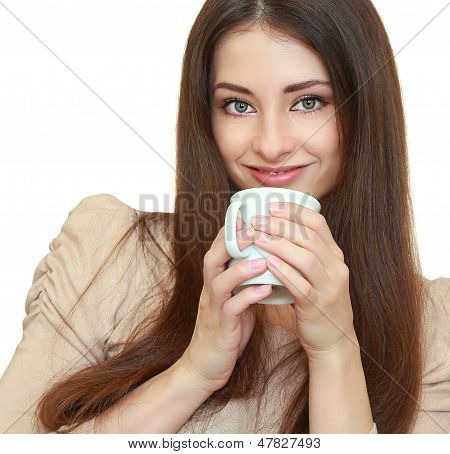 Beautiful Woman Dinking Coffee Or Tea From Cup And Looking Happy Isolated