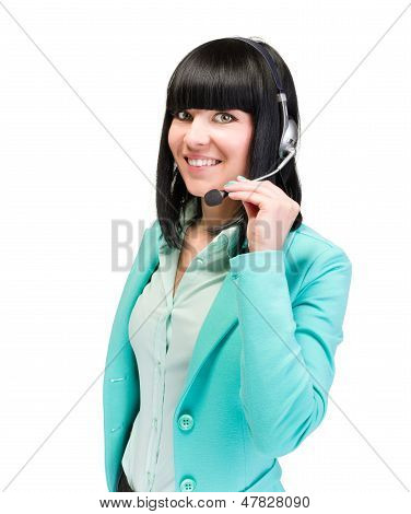 Caucasian business woman with headset isolated
