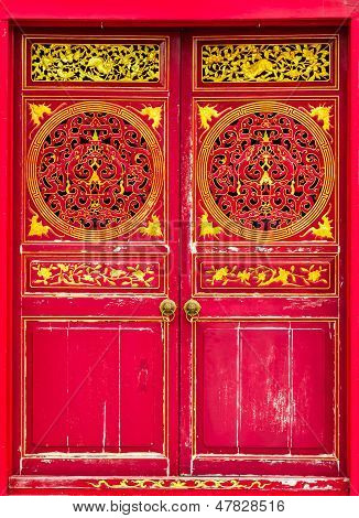 The Door Design Of Shrine on white isolate background.