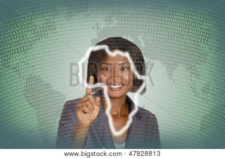 African Business Woman Digital It Background
