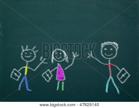 Blackboard With School Kids Drawings