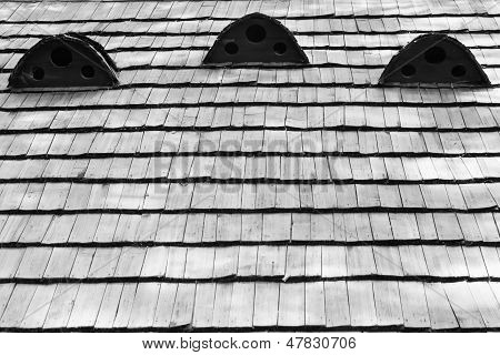 Fragment Of Old Wooden Roof Of The House