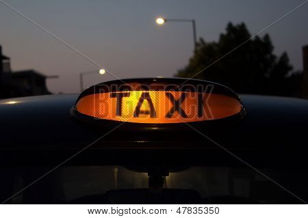 Taxi for hire sign
