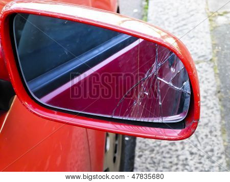 Cracked wing mirror