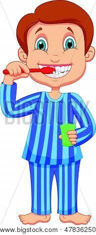 Cute little boy cartoon brushing teeth