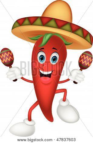 Happy chili pepper cartoon dancing with maracas