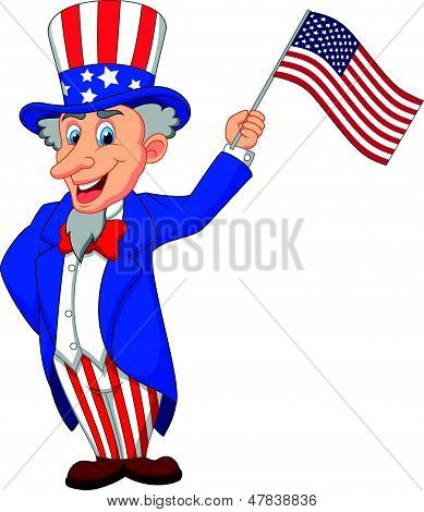 Uncle Sam cartoon holding American flag