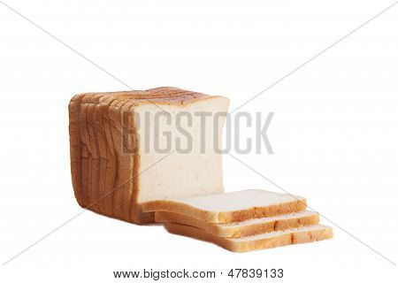 Isolated white sliced loaf of bread