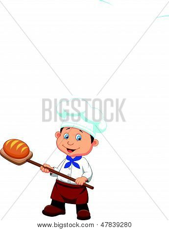 Cartoon a baker with bread