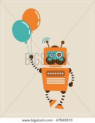 Hipster Vintage Robot with balloons - retro style vector card