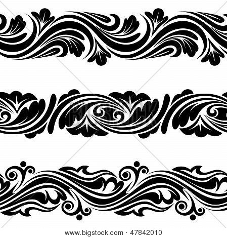Set of vintage horizontal seamless vignettes. Vector illustration.