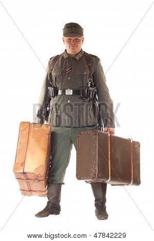 Man In Clothes Of German Soldier