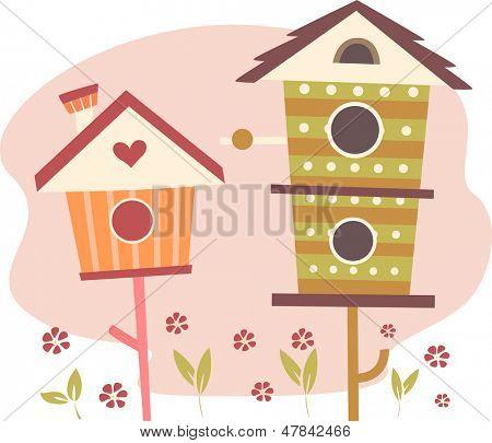 Illustration der niedlichen Vogelhäuser