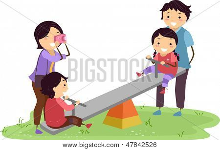 Illustration of Stickman Family Having Fun in the Playground