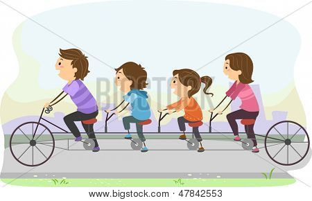 Illustration of Stickman Family Riding a Tandem Bicycle