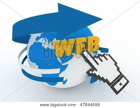 "Earth globe and hand cursor on a word ""web"". 3d illustration of internet world wide web concept"
