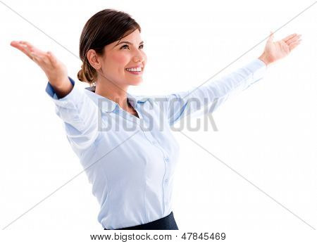 Business woman with arms open to new opportunities - isolated over white background