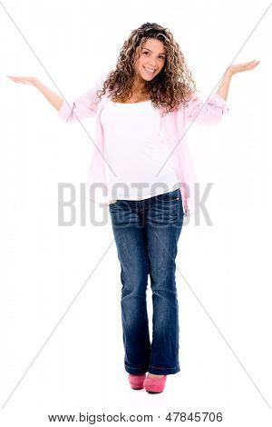 Indecisive woman smiling - isolated over a white background