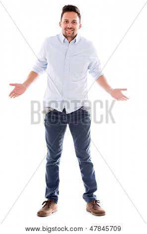 Man going bankrupt with empty pockets - isolated over white background