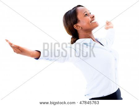 Powerful business woman with arms open - isolated over a white background