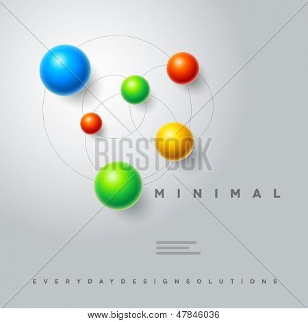 Vector abstract minimal spheres design template. Elements are layered separately in vector file. Easy editable.