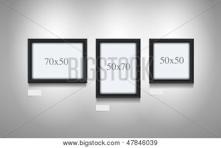 Realistic vector illustration of black wooden frames.