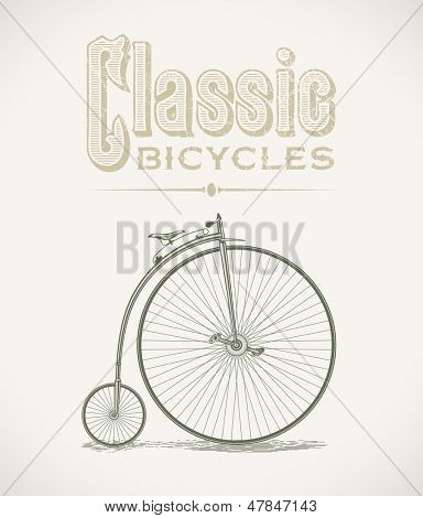 Vintage illustration with a classic penny-farthings bicycle. Raster image. Find an editable version in my portfolio.