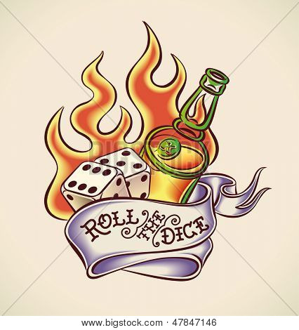 Vintage tattoo design with dice, rum, flame and banner. Raster image. Find an editable version in my portfolio.