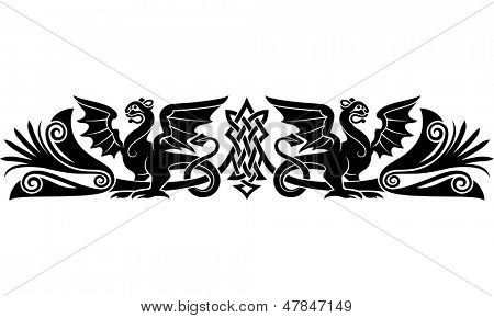 Patrón celta medieval con extrañas criaturas parecen grifos o dragones. Como un tatuaje de brazalete