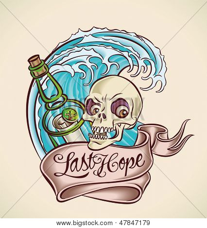 Vintage tattoo design with bottle, skull, banner and wave. Raster image. Find an editable version in my portfolio.