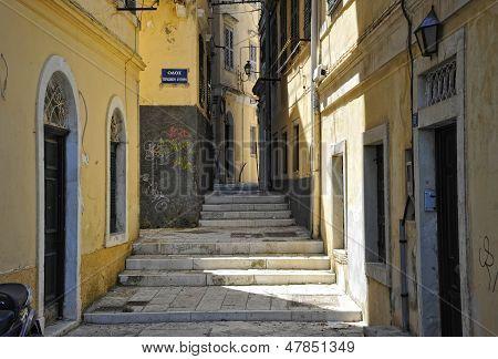 street in kerkyra, corfu