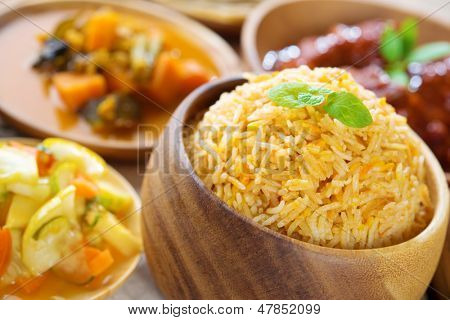 Biryani rice or briyani rice, fresh cooked basmati rice, delicious indian cuisine.