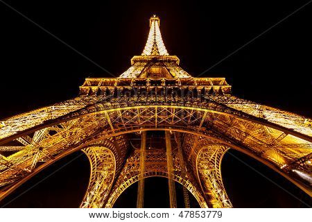 Wide View Of Eiffel Tower Illuminated In The Night, Paris, France