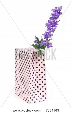 Delphinium flowers in a gift bag isolated on white