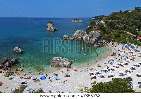 Beach near Parga city in Greece