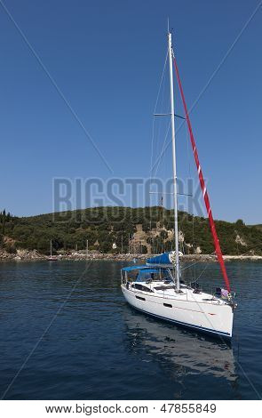 Sailboat near Parga in Greece