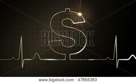 The Dollar Sign Flare Of Ekg Monitor
