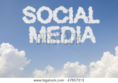 Social media concept symbol in clouds on blue sky