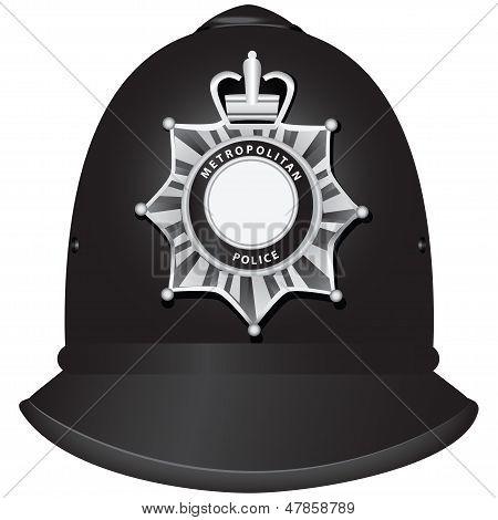 Capacete de oficial da polícia britânica